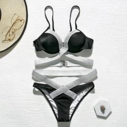 Push up brazylijski kostium kąpielowy damski strój kąpielowy błyszczące strappy sexy bikini 2020mujer wysokie cięcie czarne stro