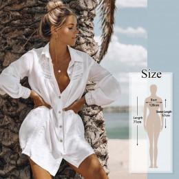 Kobiety strój kąpielowy Cover Up mandarynka rękaw kaftan i tunika na plażę sukienka De Plage solidny biały bawełna Pareo okrycie