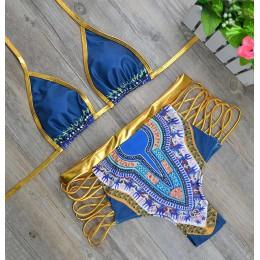 2020 nowy afrykański nadruk dwuczęściowy strój kąpielowy Bikini Set Sexy geometryczny strój kąpielowy strój kąpielowy złoty wyso