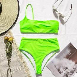 In-x bikini z wysoką talią 2020 mujer Neon kostium kąpielowy damski jedno ramię stroje kąpielowe kobiety top bez ramiączek Sexy