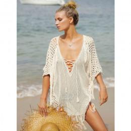 Nowe dzianiny okrycie plażowe Up kobiety strój kąpielowy bikini Cover Up Hollow Out plaża sukienka Tassel tuniki kostiumy kąpiel