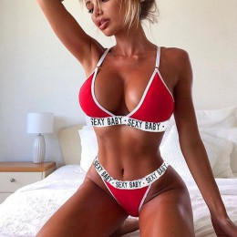 2 sztuk Sexy stroje kąpielowe kobiety lato Bikini 2019 biustonosz trójkąt garnitur Bikini Set strój kąpielowy strój kąpielowy Bi