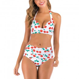 Mossha bikini wysokie w talii Halter strój kąpielowy kobieta kostium kąpielowy damski Plus rozmiar bikini 2020 3XL kwiatowe stro