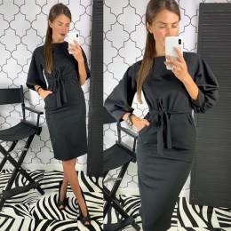Kobiety w stylu Vintage latarnia rękaw skrzydła Party D ress z długim rękawem O szyi jednolita sukienka elegancka sukienka 2019