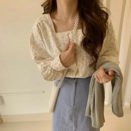 Hzirip koreańskie damskie bluzki 2020 wiosna lato słodka, modna kwadratowy kołnierzyk na co dziń z nadrukiem koszula z długim rę
