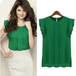 Damska letnia elegancka bluzka damska jednolita, krótka bluzka z szyfonu bluzka z falbanami