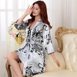 2 sztuk szata garnitur Satin kobiety suknia Kimono szlafrok ślubny zestaw Rayon Sexy luźna bielizna nocna intymna bielizna salon