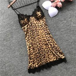 QWEEK Leopard piżama dla kobiet koronkowa seksowna bielizna moda jedwabna piżama ustawia kobiety 2019 lato piżama Mujer piżama z