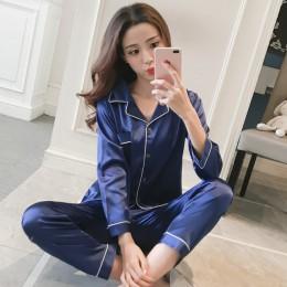 Damska piżama satynowa z długim rękawem i długa z guzikiem w dół bielizna nocna Loungewear M-5XL