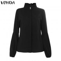 Moda damska bluzki 2019 VONDA kobieta długi rękaw latarnia stałe popy i bluzki Casual Blusas Top Plus rozmiar damska tunika 5XL