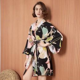 2020 wiosna nowe panie satyna jedwabna cienka szata komfort świeży styl kwiatowy drukowane bielizna nocna seksowna koszula nocna