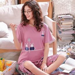 Letnia kreskówka bawełniana piżama zestaw kobiet piżamy bielizna nocna bielizna nocna Pijama Mujer odzież domowa Plus rozmiar sp