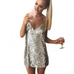 Głębokie V Neck jesień srebrna cekinowa Backless seksowna sukienka kobiety Off ramię Mini sukienka boże narodzenie do klubu na i