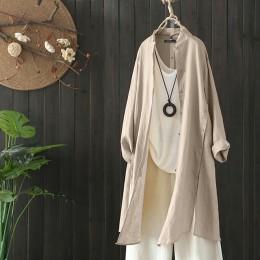 2019 Plus rozmiar ZANZEA wiosna jesień kobiety dorywczo klapa z długim rękawem w stylu Vintage bawełniana pościel luźna praca OL