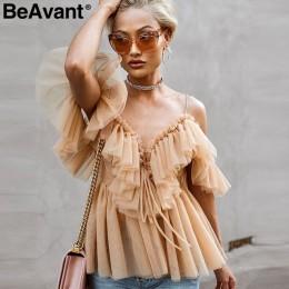 BeAvant Off shoulder damskie topy i bluzki lato 2019 Backless sexy top peplum kobieta falbana w stylu vintage mesh bluzka koszul