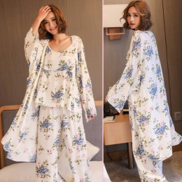 Trzy częściowy zestaw bielizny nocnej długie spodnie koszulka na ramiączkach kimono szlafrok w kwiaty