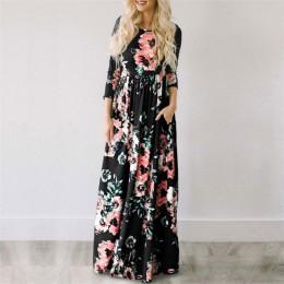 2020 letnia długa sukienka kwiatowy Print Boho plaża sukienka tunika Maxi sukienka kobiety suknia wieczorowa Sundress Vestidos d