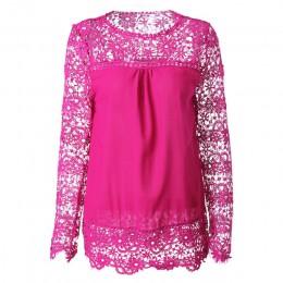 7XL bluzka w rozmiarze Plus Size wiosna lato biały bluzki damskie koszule koronkowa bluzka Patchwork luźna koszula Camisa Blusas