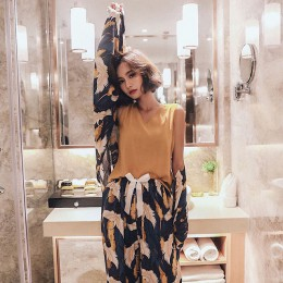 Bielizna nocna damska młodzieżowa spodnie koszulka kimono wygodne nowoczesne wielofunkcyjne