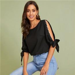 SHEIN stałe perły frezowanie Side węzeł mankietów elegancka bluzka kobiet topy 2019 jesień pół rękawa podstawowe bluzki dla młod