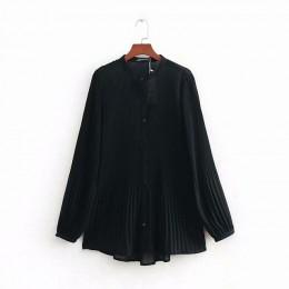 Nowa moda damska z długim rękawem szyfonowa, plisowana bluzka koszule damskie o neck casual business blusas femininas bluzka top
