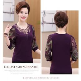 Hollow Out 2020 nowa koronkowa bluzka koszula starsze kobiety pół rękawa nadruk w kwiaty Plus rozmiar przezroczysta szyfonowa bl