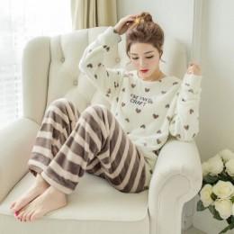 Zimowa piżama kobiety koreański bielizna nocna Cute Cartoon flanelowa piżama zestaw aksamitna ciepła piżama wokół szyi piżama Ho