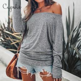 CUPSHE szary Off-The-Shoulder seksowny top kobiety długa koszula z rękawem w kształcie skrzydła nietoperza bluzki bluzki 2019 je