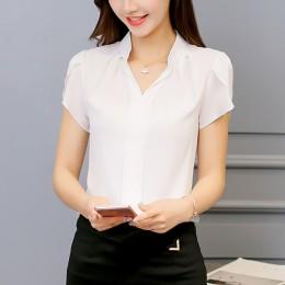 Plus rozmiar bluzka damska 2019 letnia koszulka z krótkim rękawem czerwona biurowa, damska koszula z szyfonu elegancka koszulka