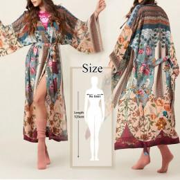 2020 artystyczny nadruk pół rękawa letnia plaża nosić długi kardigan kimono bawełniana tunika kobiety bluzki bluzka koszula Saro