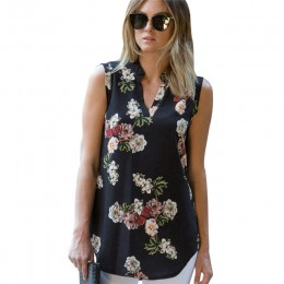 Moda w stylu Vintage, w kwiaty drukuj bluzka koszula 2020 lato bez rękawów szyfonowa bluzka Sexy V Neck kobiety koszule Casual L