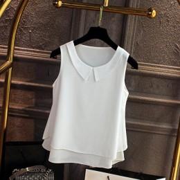 Duży rozmiar bluzki koszula kobiety 2019 kobiet jednolity kolor podwójna warstwa szyfonowe koszule na co dzień bez rękawów luźny