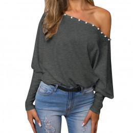 Damska jesienna bluzka Off Shoulder topowy sweter luźny, w kształcie skrzydła nietoperza z długim rękawem bluzka bez rękawów wio