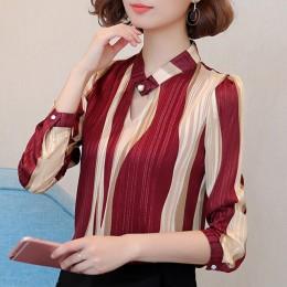 Bluzka w rozmiarze plus size kobiety bluzka moda kobieta bluzki 2019 biuro w paski koszula/bluzka szyfonowa koszula z długim ręk