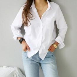 TITAME koszule bluzki moda damska Casual topy kobieta skręcić w dół kołnierz biała luźna bluzka z długim rękawem Ol stylowa kosz