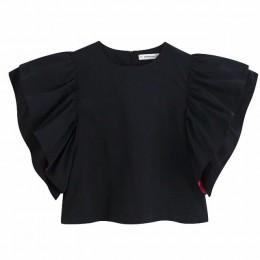 2019 jesień kobiety o neck flare rękaw na co dzień luźne bluzki damskie ułożone ruffles bluzy koszule czarny kolor koszulka topy