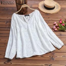 2019 ZANZEA damska letnia bluzka jesień koszule z długim rękawem kobieta V Neck Lace Blusas Plus rozmiar tunika S-5XL moda topy