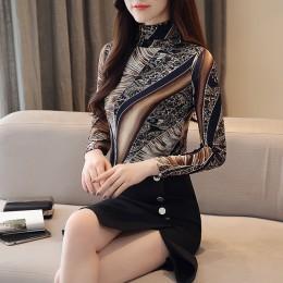 Jesień Plus rozmiar 3XL koszula z długim rękawem kobiety moda kobieta bluzki 2019 nadruk koronka bluzka damskie topy i bluzki Bl