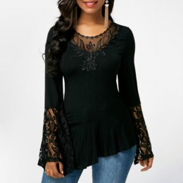 Koronka bluzki bluzki z rozkloszowanymi rękawami dla kobiet topy koszula Plus rozmiar kobiet ubrania nieregularne 2019 Blusas ko