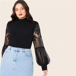 SHEIN Plus rozmiar czarny Mock szyi koronki latarnia rękaw podkreślający figurę Top kobiety jesień solidna elegancki urząd Lady