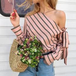 Umeko bluzka w paski damskie topy z jednym ramieniem Sexy z długim rękawem koszule z kokardami moda damska bluzki damskie 2019 C