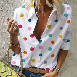 2019 nowych kobiet bluzka topy kobiety praca biuro nadruk w kropki bluzka koszula Casual koszula z długim rękawem bluzki femmes