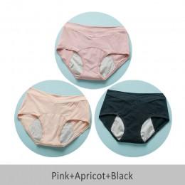 Szczelne majtki menstruacyjne damskie i nietrzymanie moczu bielizna okres spodnie menstruacyjne ciepłe majtki bawełniane 3 sztuk