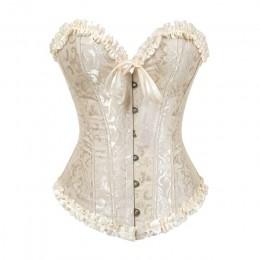 Gorset seksowna koronkowa plus rozmiar erotyczny zip kwiatowy kobiety gorset gorset bielizna topy brokat wiktoriański moda DropS