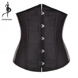 Satynowy pas wyszczuplający taliowany na guziki regulowany wiązany na plecach modny oryginalny