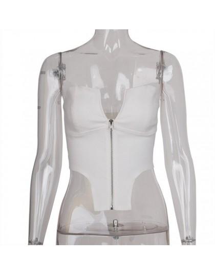 Evenworger kobiety bez ramiączek przylegająca bluzka bluzki bez pleców, modna 2020 wiosna lato Party w stylu casual, na zamek bł