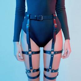 Uprząż pas do pończoch erotyczne Goth bielizna klatka pończoch pas Bondage uprząż Gothic Punk Style podwiązka fetysz noga Stocki