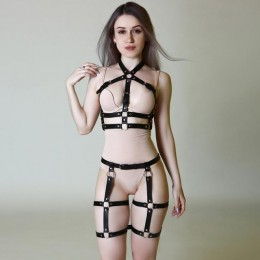 Sexy 2 sztuk skórzana uprząż zestaw podwiązki kobiety bielizna z pasków Goth biustonosz szelki podwiązki paski ciała Bondage Cag