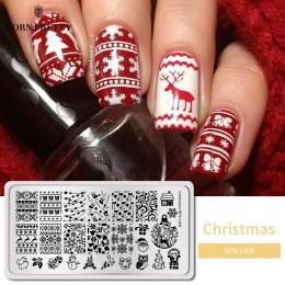Urodzony PRETTY Christmas prostokąt szablon tłoczenia paznokci 12*6cm płytka z obrazkiem uroczystości BPX-L008