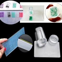 Zestaw Nail Art Stamper tłoczenie silikonowe z czapką skrobak polski wydruk obrazu szablon płyty plastikowe Transfer zestaw przy